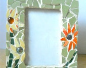 Mosaic Picture Frame with Spring Flowers made from vintage recycled china and glass beads Mothers day gift