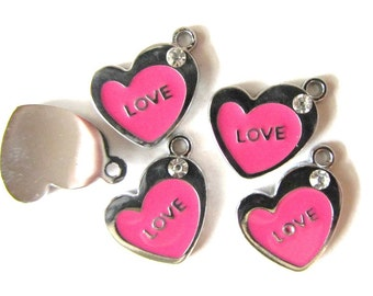 """5 pieces hot pink  """"LOVE"""" HEART with Rhinestone"""