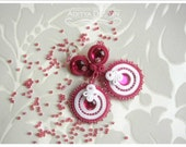 ROUND ROSA Bridal Collection - very delicate white and pink handmade soutache wedding earrings - AdityaDesign