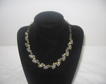 Vintage Saphire blue rhinestone choker necklace accessory