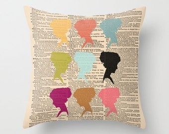 Throw Pillow Cover Dictionary Art Print Colorful Silhouettes on a Vintage Dictionary Page - 16x16, 18x18, 20x20 - Home Décor by CARTISIM