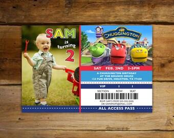 Child's Chuggington Birthday Invitations - Photo / Ticket Invitations (Horizontal Ticket)