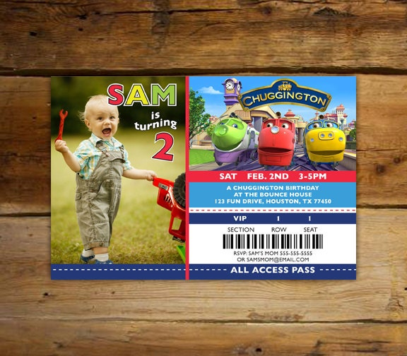 Childs Chuggington Birthday Invitations Photo Ticket – Chuggington Party Invitations