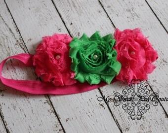 Watermelon Picnic - Hot Pink & Green Shabby Flower Headband w/Pearl Centers