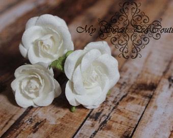 White Rose Hair Pins- Mulberry Flowers- Paper Flowers- Floral Hair Pins- Hair Flowers- Hair Accessories- Bridal Hair Pins- Flower Girl