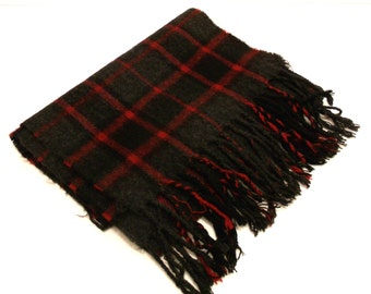 Gray/Red Plaid Acrylic Scarf with Fringe Vintage 80s