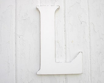 Wooden Letters L 12 inch White Initial Rustic Sign Cottage Decor Weddings Nursery gifts Childrens Room