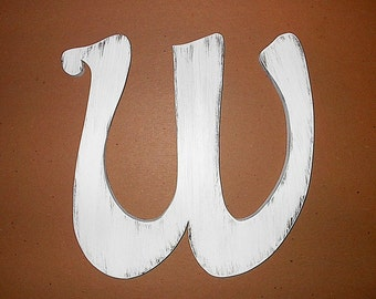 "Fancy Wooden Wall Letter W 12""  White Distressed Big Letters Decorative Rustic Nursery Letters Kids wall art Gift Shabby Cottage chic"