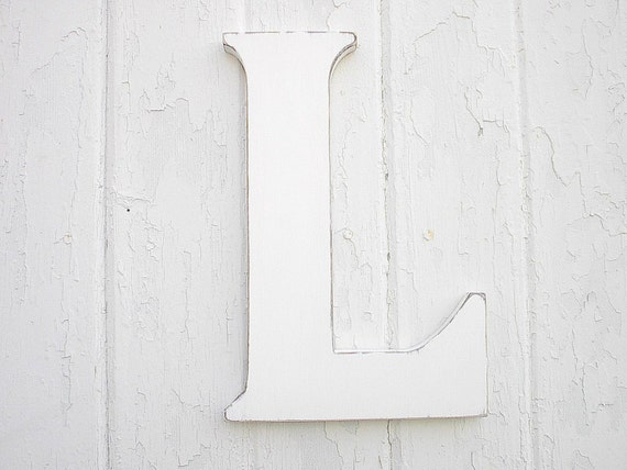 wooden letters l 12 inch white initial rustic sign cottage With 12 inch white wooden letters