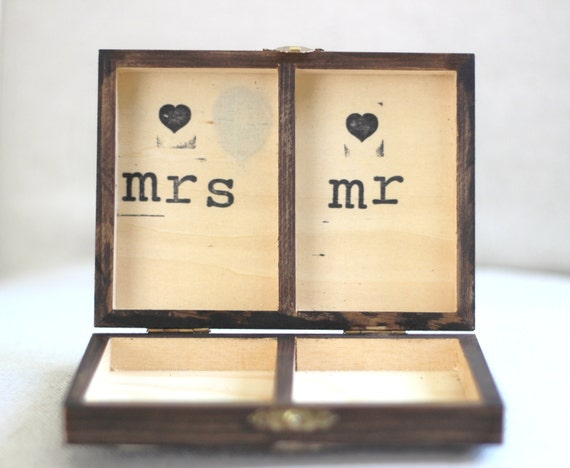 rustikale personalisierte ring box vintage shabby chic strand. Black Bedroom Furniture Sets. Home Design Ideas