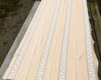 Vintage Danish Modern Linen Woven Peach Table Cloth / Danish Modern Decor / Mid Century Decor