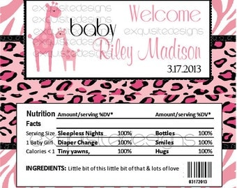Pink Safari Baby Shower Candy Wrapper