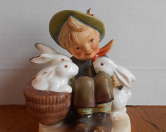 "1950s Hummel ""Playmates"" Boy with 3 Bunny Rabbits"