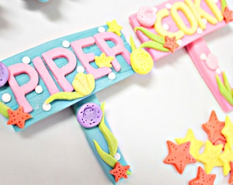 Fondant Edible Wooden Sign coral - Happy Birthday Name 1 qty  for Under the Sea Party, Mermaid, Finding Nemo, Little Mermaid, Beach