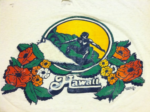 Vintage 70s hawaii tshirt thrashed original surfer good fun for Hawaiian graphic t shirts
