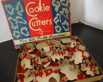 Vintage Holiday Cookie Cutters -  Boxed Set of 12 - Cottage Chic - Farmhouse Kitchen Decor