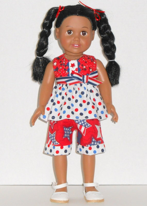 American Girl Doll July 4th Ruffled Top Capris Red White Blue Stars Polka Dots