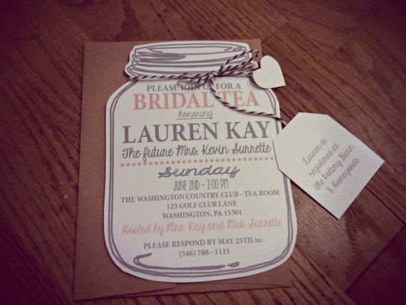 Mason Jar Bridal Tea Invitation, Bridal Shower Mason Jar Invitation