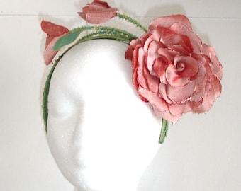 Bridal Silk Flowers, Bridal Headpiece, Pink Silk Flowers on silk headband