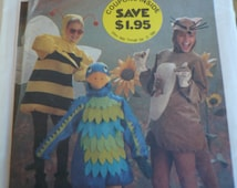 Vintage Simplicity 6671 Boys and Girls Costume pattern - Factory Folded - Sizes 6-8 - Bird, Kangaroo, Bumble Bee Costumes