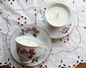 Sage & Citrus Scented Soy Candle in Vintage MINI Teacup and Saucer (2)