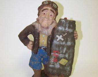 Chalkware Aviator Figurine Vintage Pilot Figurine Vintage Chalkware Figurine