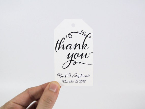 Thank You Tag - MEDIUM Size - Wedding Favor Tag - Shower - Baptism - Christening - Custom Tag - 36 Pieces