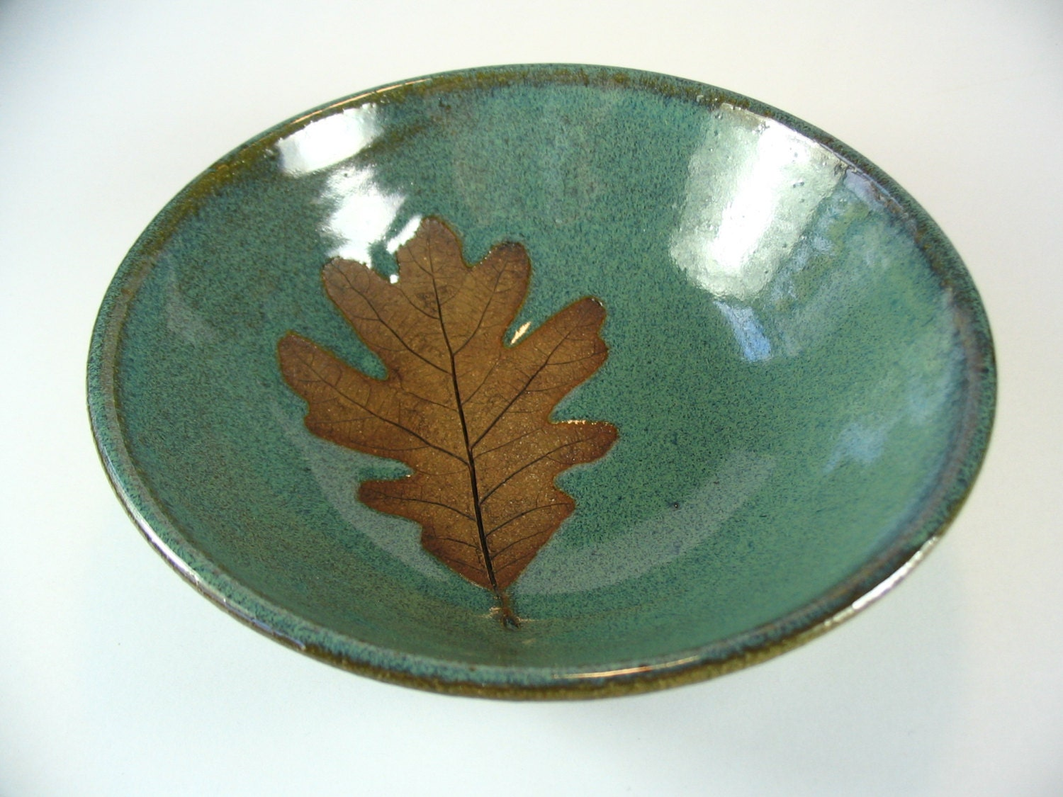 Pottery bowl with oak leaf imprint wheel thrown stoneware for Pottery designs with clay