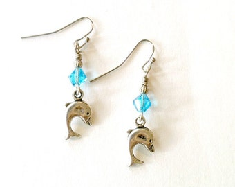 Dolphin earrings turquoise crystal Dolphin earrings Handmade Gift