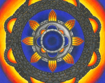 "Orange, Blue and Grey Mandala - 16x16"" Giclee print"