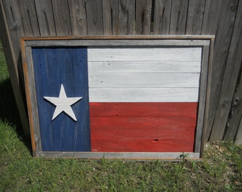 Large Rustic Wood Texas Flag, Distressed, Reclaimed wood, wall art