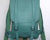 Teal leather backpack rucksack / To order