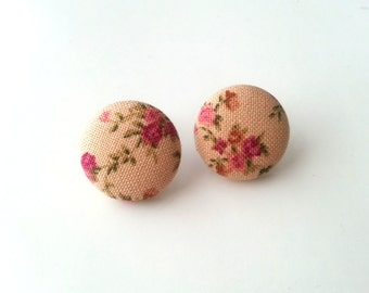 NEW Nude with raspberry pink flowers vintage inspired floral fabric button earrings