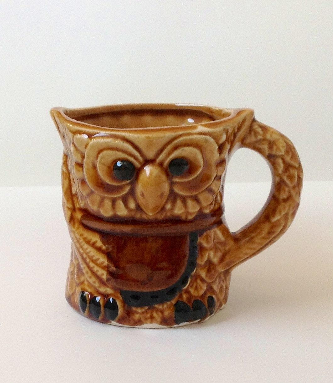 owl mug on sale vintage ceramic coffee cup by fostandlound