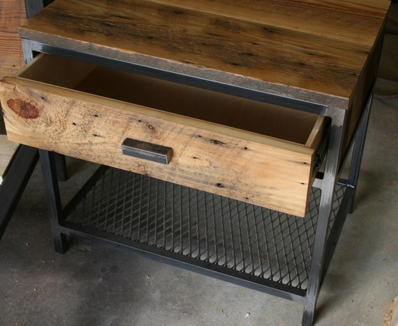 Industrial Wood And Metal Nightstand: Items Similar To Night Stand With Drawer.... The Lexi On Etsy