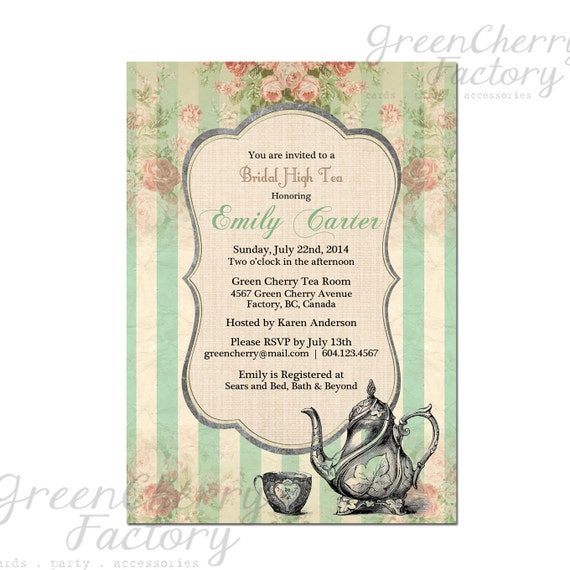 tea party invitation tea party invitation baby shower birthday tea