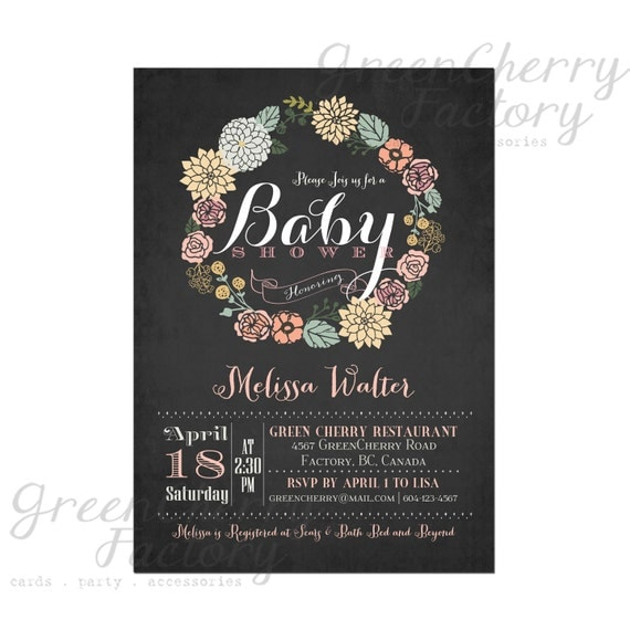 Baby Shower Invitation - Vintage Chalkboard Background - Wreath Spring Summer Floral Mint Coral Pink Flower - Printable Invitation - No.06
