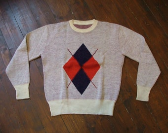 Great Vintage Diamond 1940s 1950s Argyle Cable Knit Sweater pullover VLV  Size L Large 50s 40s  Rockabilly Rhythm Riot