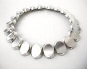Scandinavian Modernist  Borgila AB Sterling Silver Oval Linked Choker Necklace Made In Sweden Circa 1958