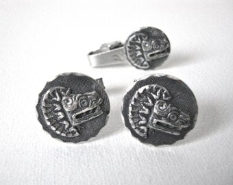 Vintage Set of Sterling Silver Quetzalcoatl The Feathered Serpent Cufflinks And Matching Tie Clip Made In Mexico