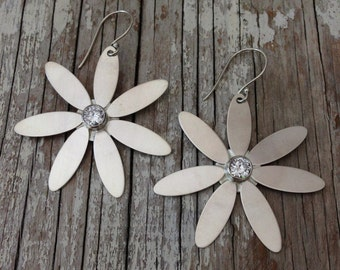 Handmade Sterling Silver Daisy Earrings with Faceted Cubic Zirconia stone