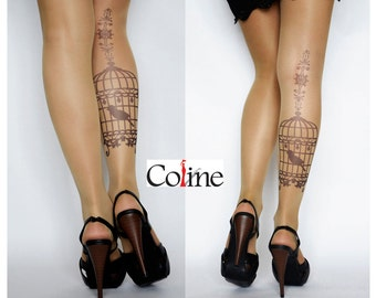 S-XXL Sizes Available, Bird Cage Vintage Transparent Tattoo Tights, Tights Handmade, Tattoo Womens Pantyhose
