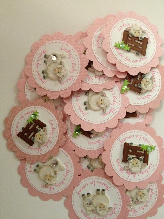 little lamb favor tags for baby shower or birthday custom made to