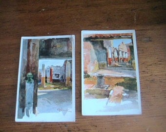 Watercolor Italian Postcards Paper Ephemera Pompeii Italy 1929 Antique Retro Watercolors
