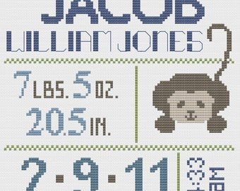 Customized Cross Stitch for Baby - Pattern - Monkey
