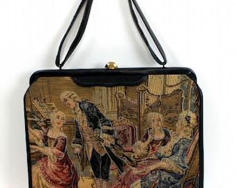 Vintage 1950s Purse Soure Victorian 3D Designer Handbag Mad Man Collectible Garden Party Rockabilly Retro Dress Designer VLV