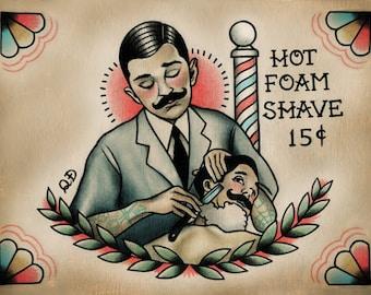 Barber and Patron Tattoo Print