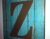 12x12 Turquoise Wood Print Wall Hanging with Wood Letter