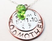 GODMOTHER'S/GRANDMA'S NECKLACE in Hand Stamped-Personalized Sterling Silver and Copper - N0013