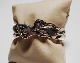 Sterling Silver Floating woman cuff bracelet